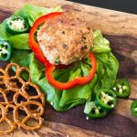 Jalapeno chicken burger with pretzels