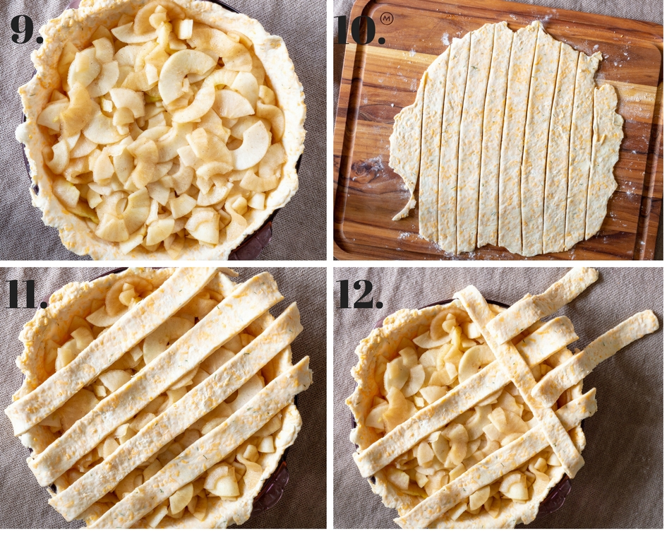 photo collage showing how to make lattice crust