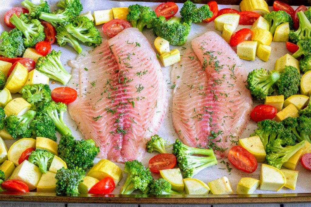Tilapia with Yellow Squash, Broccoli, and Tomato